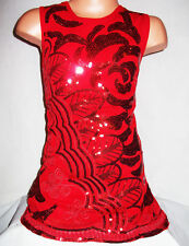 GIRLS 60s RED SPARKLING EMBROIDERED SEQUIN EVENING DANCE PARTY DRESS TOP age 3-4