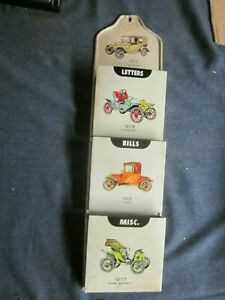 Vintage Tin Litho Mail-Bills-Misc Wall Organizer antique car cars
