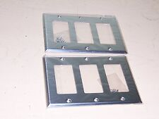 Lot Of 2 Stainless Steel 3 Gang 430 DEC/GFI Wall Plates United Electric US97403