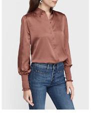 Express Satin Puff Sleeve Smocked Cuff Shirt Burgendy Xxs