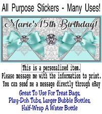10 Tiffany Blue Ribbons Diamonds Birthday Party Baby Shower All Purpose Sticker