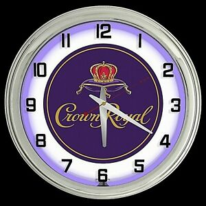 "16"" Crown Royal Whisky Logo Sign Purple Neon Clock Man Cave Bar Garage"