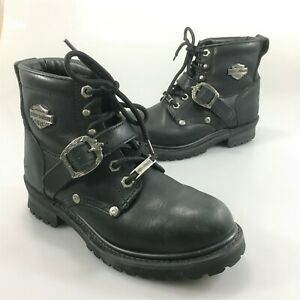 Harley Davidson Womens 7 Black Leather Motorcycle Biker Ankle Boots 91024