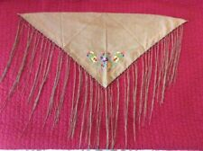 Brown Faux Leather Shawl Wrap With Embroidery And Fringe