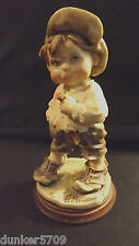 1980 G. Armani Figurine Boy With A Cigar - On Wooden Stand Signature Italy
