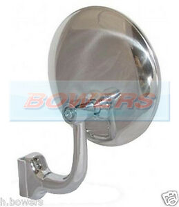 """4"""" CLAMP CLIP ON STAINLESS STEEL CHROME OVERTAKING PEEP CLASSIC CAR DOOR MIRROR"""