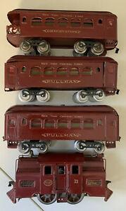 Lionel Mojave No. 33 Locomotive, two 35 Pullmans and 36 Observation car - Prewar