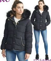 NEW WOMENS LADIES QUILTED WINTER COAT PUFFER FUR COLLAR HOODED JACKET PARKA CORI