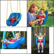 Outdoor Hanging Infants Baby Swing Chair Seat 2-in-1 Snug 'n Toddler Swing Blue