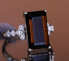 Rare Brown Tourmaline Solitaire with Diamond Accents 14k Solid Gold Ring, Size 7