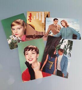 """Cartoline vintage 5 pz.,anni 60 - 70, da collezione, tema """" Vita e sentimenti""""."""