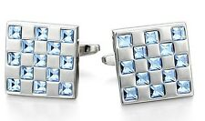 Stone Blue Topaz Men's Cufflink Jewelery 14 K Solid White Gold Natural Gem