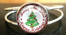Cabochon Split Band Cuff Bracelet Beautiful Silver Tone Christmas Themed Glass