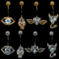 Crystal Mouth Skull Wing Devil Belly Button Ring Navel Piercing Body Jewelry 14g