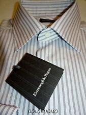 NEW $500 ERMENEGILDO ZEGNA DRESS SHIRT 15.5 35.5 39EU pale blue dk burg strip