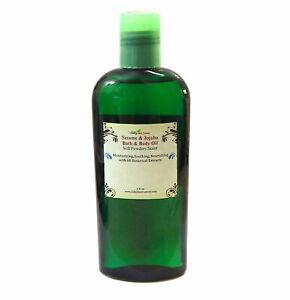 Sesame Jojoba Body Massage Bath Oil Botancial Extract Vit E Clean Powdery Scent