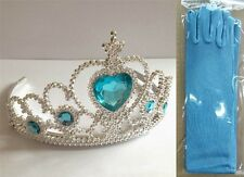 UK Stock Sale Elsa Snow QUEEN Party COSTUME Blue Gloves+ Crown w/ 5 Crystal