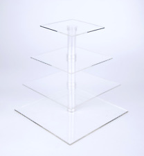 4 Tier Squar Wedding Cake Stand Cupcake Tower Dessert Stable Food Display Holder