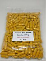 Tumeric (Turmeric) Root Powder Capsules (Curcuma longa) 500 mg 30 count