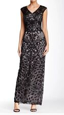 SUE WONG Black And Platinum Sequin Embellished Beaded Cocktail Evening Dress 2