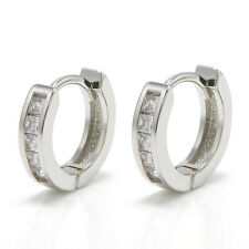 2Pcs Mens Women Crystal Stainless Steel Ear Hoop Stud Huggies Earrings Jewelry