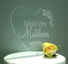 Personalised clear Mr & Mrs Wedding Cake Toppers keepsake
