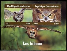 CENTRAL AFRICA 2017 OWLS SET OF TWO  SHEETS  OF TWO MINT NH