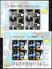 GIBRALTAR 1993 EUROPA: Modern Art. Theatre Painting Cinema. 2 MINI-SHEETS, MNH