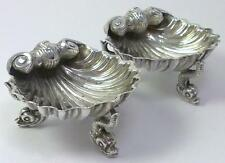 Pair of Victorian Silver Shell Salt Cellars / Dishes on Dolphin Feet -  1865