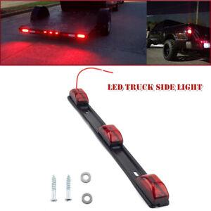 12V 9LED Red Clearance ID Bar Marker Light 3Light Trailer Sealed Stainless Steel