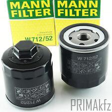 2x MANN FILTER W712/52 Ölfilter VW Audi A2 Seat Ibiza Skoda 1.0 1.4 1.6 + 16V