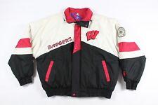 Vintage 90s Pro Player Homme XL Wisconsin Badgers Sort Out Doudoune Blanc