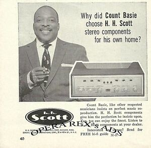 H.H. SCOTT  STEREO COMPONENTS, COUNT BASIE Original Print AD 1959