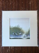 China Embroidery Art Inc Handmade Silk Royal Birds Reeds River Matted Painting