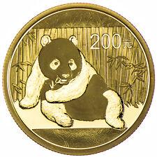1/2 Ounce Gold BU Panda 200 Yuan China 2015 in Folie