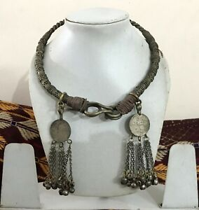 Fully Adjustable Real Coin Dangle Tibetan Silver Round Necklace Neck-Ring Tribal