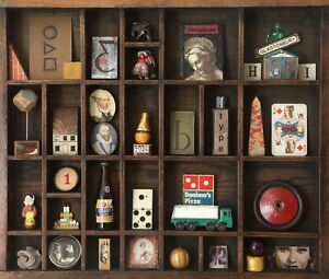 Vintage Wooden Printers Tray Display Case with Quirky Curios and Vintage Items.
