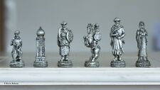 "Crusader vs Ottoman Chess Set & Glass Board Metallic Gold Silver NEW 3"" Kings"