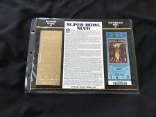Super Bowl 47 Ravens vs. 49ers 22kt Gold Ticket Panel - Willabee Ward (NEW)