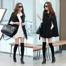 Korean Women Woolen Cape Poncho Winter Warm Batwing Coat Parka Jacket Outwear XL