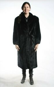 Size XL Gorgeous Black Mink Fur Women Full Length Coat [107]