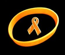Orange Ribbon Lapel Pin Silicone Bracelet Set Cancer Awareness Cause Support