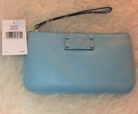 New $128 Kate Spade Zippered Chrissy Berkshire Road Leather Blue Wristlet