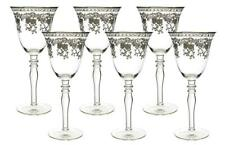 (D) Crystal Wine Stem Glasses with Luxury Silver Decoration 6-pc Set, Glassware