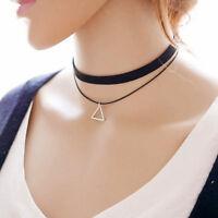 Boho Black Double Layer Velet Leather Choker Collar Necklace Pendant Jewelry