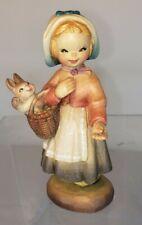 """Anri Hand Carved Wood Figure Ferrandiz 4"""" """"Welcome Girl"""""""