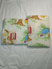 Disney Winnie the Pooh Vintage 70s Sears Twin Flat Fitted 2 Pc Sheet Set Bedding