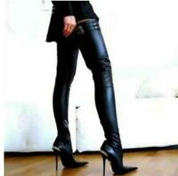 Chic Womens Leather Over Knee Thigh Boots Pointy Toe Stielttos Clubwear Shoes @@