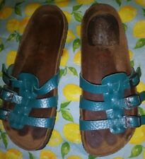 Birkenstocks Turquoise  Strappy Slip On Clogs Unisex Sz 40 M 7 W 8-9