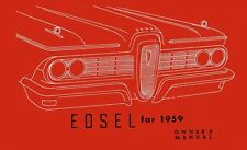 1959 Edsel Owners Manual User Guide Reference Operator Book Fuses Fluids
